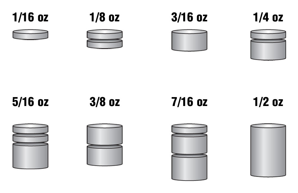 Tungsten Incremental Weights<sup>&trade;</sup> Cylinder 2 oz